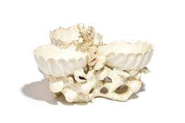 A large Bow white glazed three- shell salt or sweetmeat, circa 1750-55,