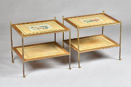 A pair of mid-20th century lacquered brass rectangular two tier étagères on turned supports,