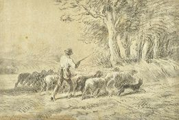 Charles Jacque (1879-1959), Le Retour du Berger, charcoal and white chalk on grey paper,
