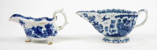 Two Bow blue and white sauceboats, the first, circa 1754,