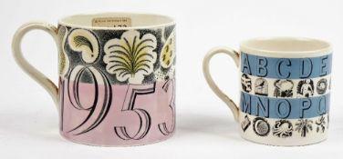 A Wedgwood earthenware mug designed by Eric Ravilious, 1953,