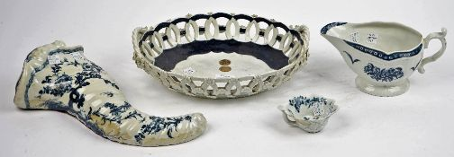 Four items of Worcester blue and white porcelain,circa 1760-70,