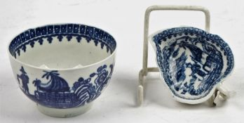 A Caughley blue and white leaf moulded butterboat, circa 1780,