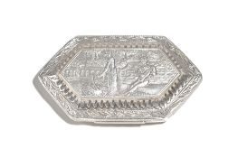 A George III silver box, of lozenge form,