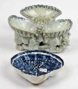 A Bow blue and white shell- shaped salt or sweetmeat stand, circa 1750,