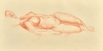 Alfred George Stevens (1817-1875), Reclining nude, red chalk, indistinctly signed, 17.5cm x 34.5cm.