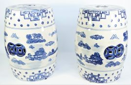 A pair of modern Chinese style blue and white pottery garden seats decorated with landscape scenes,