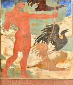 A scagliola panel, Heracles and the Stymphalian birds, impressed 'LIPOTH-F',