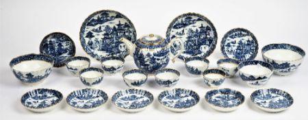 A Caughley composite blue and white printed part tea service, circa 1785,