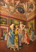 Giovanni B. Filosa (1850-1935), Grand tourists at the Jupiter, watercolour, signed, 124cm x 88cm.