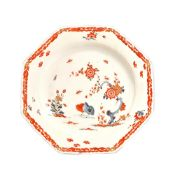 A Bow porcelain octagonal plate, circa 1755,