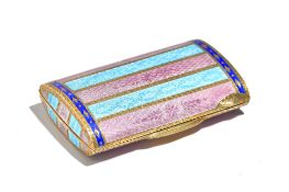 A lady's silver gilt and varicoloured enamel curved rectangular powder compact,
