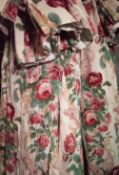 Curtains, two pairs of lined and interlined rose floral curtains,