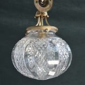 Three Victorian style brass and glass ceiling lights of spherical form with hob nail cut decoration,