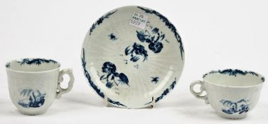 A Worcester blue and white coffee cup, teacup and saucer, circa 1756,