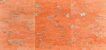 Continental School (20th century), Aircraft on an orange background, oil on canvas,