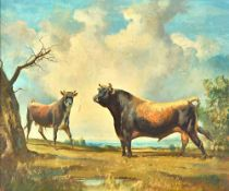 Raoul Millais (1901-1999), A cow and bull in a field, oil on canvas, signed, 49cm x 59cm.