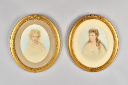 English School (late 19th century), Portraits of young ladies, a pair, watercolour, oval, each 29.