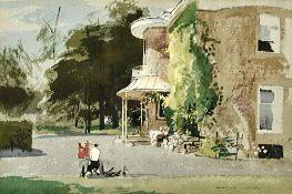 Rowland Hilder (1905-1993), Bruton, Dorset, watercolour, pen and ink, signed, 33.5cm x 50.5cm.