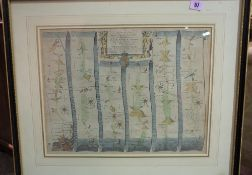 John Ogilby, The Road from London to Portsmouth, late 17th century, framed map,
