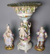 A pair of late 19th century Limoges porcelain figures of a man and a woman,