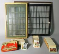 A quantity of early 20th century cigarette cards and frames (qty).