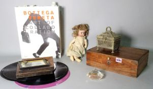Collectables, including an early 20th century bisque head child's doll,