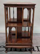 A late 19th century mahogany revolving open bookcase, 49cm wide x 89cm high.