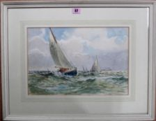 E. Wilkes (20th century), Boats at sea, watercolour, signed, 26cm x 38.5cm.