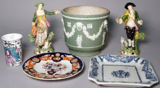 Ceramics to include; a pair of early 19th century Derby figures of a shepherd and shepherdess,