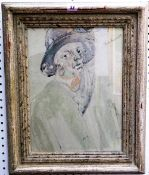 Vera Bassett (1912-1997), Lady in hat, smoking, watercolour and crayon, signed, 39.5cm x 29.5cm.