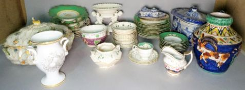 A large group of mainly 19th century ceramics, mostly dinner and tea wares, including tureens,