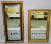A 20th century gilt framed rectangular wall mirror, 90cm wide x 55cm high,