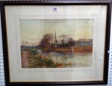 Henry Charles Fox (1860-1929), River scene at sunset, watercolour, signed and dated '99, 35.