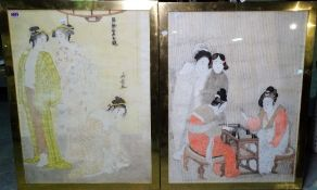 A similar pair of Japanese prints depicting ladies, 69cm x 22cm, (2).
