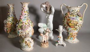 A group of modern Continental porcelain including floral decorated vases, figures and sundry, (qty).