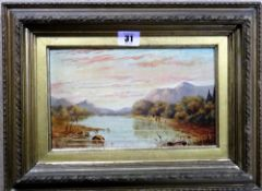 English School (19th century) Loch scene, oil on board, 14cm x 23.5cm.