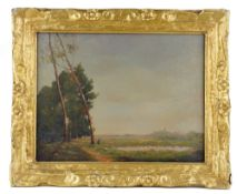Dutch or Belgian school, 19th/20th century, landscape, oil on canvas, 34cm x 44cm.