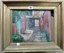A group of three 19th century oils, including a view of a courtyard,