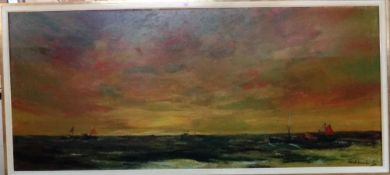 ** Eckhout (20th century), Seascape, signed, oil on canvas, laid on board, 100cm x 229cm.