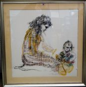 Tom Merryfield (20th century), Mother and child, pastel and mixed media, signed, 84cm x 82cm.