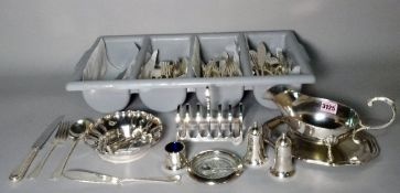Silver plated wares including flatware, sauce boats, a toast rack and sundry (qty).