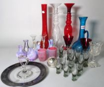 A quantity 20th century decorative glass including Caithness vases, coloured glass vases and sundry,