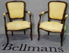 A pair of Louis XVI style stained beech open armchairs, 55cm wide x 87cm high, (2).