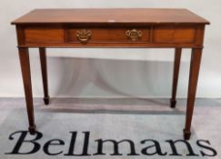 A George III style mahogany single drawer side table on tapering square supports,