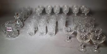 A quantity of cut glass drinking glasses, (qty).