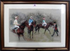 ** Forster, Preparing for the race, pastel, indistinctly signed, 35cm x 55cm.