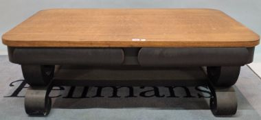 DO NOT AFTERSALE A mid-20th century teak rectangular coffee table on black painted base,