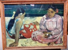 After Paul Gauguin, Tahitian women on the beach, 1891, colour print, 53cm x 73cm.
