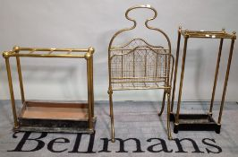A late Victorian brass six division stick stand, 30cm wide,
